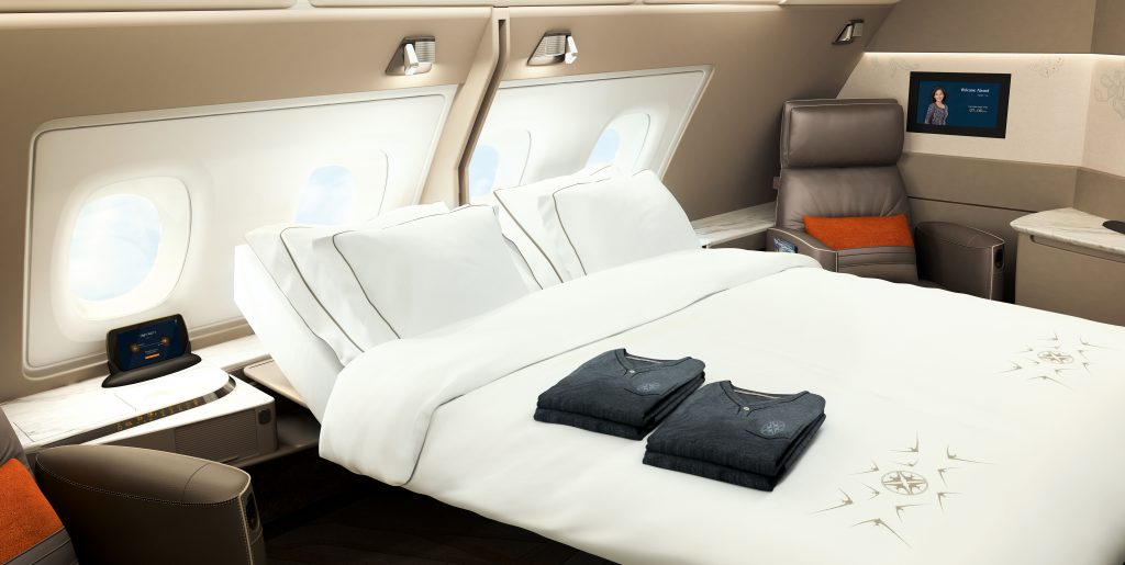 Komfortable Suite des A380 von Singapore Airlines